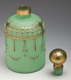 Victorian - Green Bristol glass perfume bottle