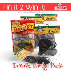September Pin-It to Win-It is a Tamale Party Package. After all, September is Hispanic Heritage Month. You will receive: (4) Tamale Kits, (1) Ancho Chile package, (1) California Chile package, (1) Guajillo Chile package, and (1) Pasilla Negro Chile package.