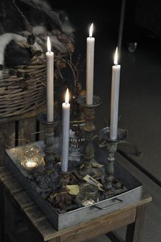 holiday, silver trays, candle holders, candlestick