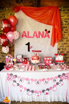 Minnie Mouse girl birthday party backdrop and dessert table!  See more party ideas at CatchMyParty.com!