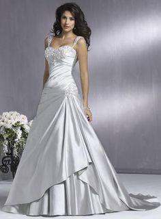 Beaded Taffeta A-line Corset Silver Wedding Dress