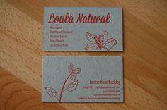 [ nature + illustration + 1-color + #letterpress + #businesscards ]  via Little Peach Co. for Loula Natural business cards, busi card, peach