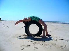 Charlotte doing Yoga at Beach