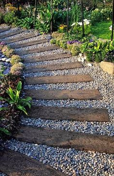 Railway timbers and pea gravel pathway.