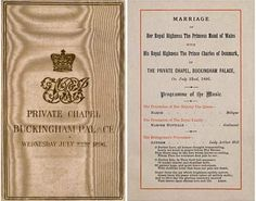 The wedding of Prince Carl of Denmark, later King Haakon VII of Norway and Maud of Wales, later Queen Maud of Norway at Buckingham Palace, November 22, 1896        The wedding programme