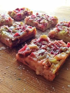 Deliciously tangy, sweet rhubarb bars with a sweet shortbread crust.
