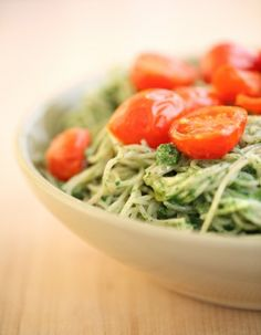 I found this great recipe on JovialFoods.com-Capellini Spinach pesto and roasted tomatoes...omit the cheese <3