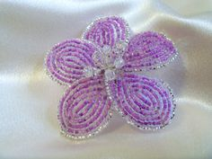 Barrette French Beaded Flower Purple Hibiscus. $30.00, via Etsy.