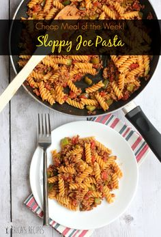 Sloppy Joe Pasta: Cheap Meal of the Week! from EricasRecipes.com Just use gluten-free penne or rotini