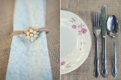 How-To , 6 Creative Ways to Use Brooches In Home Decor : Vintage Floral China Burlap Table Linens Brooch Napkin Ring