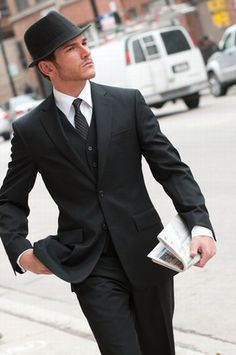 Three piece and a hat. Very nice. hats, outfits, woman fashion, boy fashion, fedoras, men fashion, men suits, style men, black