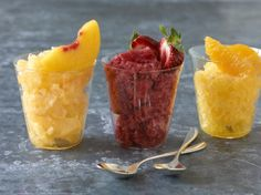 3-ingredient fat-burning Peach Sorbet from The Fast Metabolism Diet Cookbook! Just blend it up in the blender. You can use oranges or strawberries, too.