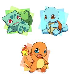 chibi gaming pokemon cute charmander Bulbasaur Squirtle totodile cyndaquil chikorita starters my favorites