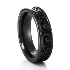 LATTICE Black Titanium Concave Ring