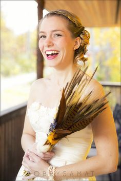 cute bridal / wedding portrait and hand made bouquet