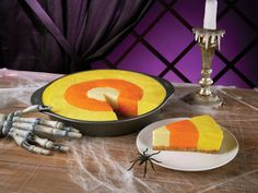 Candy Corn Cheesecake:   Using a checkerboard pan, make the perfect candy corn cheesecake. Follow your fave cheesecake recipe, and then divide the batter into three bowls. Add orange, bright yellow, or light yellow food coloring to each portion, and then pour into the pan. Then simply bake (or refrigerate) and enjoy! Halloween Desserts, Halloween Parties, Halloween Candies, Corn Cheesecake, Cake Pan, Candy Corn, Candies Corn, Corn Cake, Halloween Treats