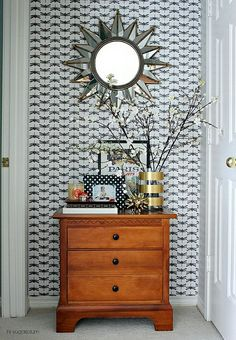 Hang wrapping paper in an entry nook..   Love this!!    Hi Sugarplum | Hall Nook Makeover by hi sugarplum!, via Flickr