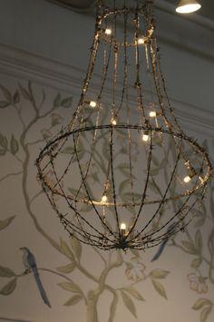 barbedwire lights, hang light, hanging lights, chandeliers, christmas lights, lamp, string lights, barbed wire, garden