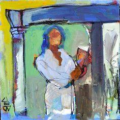 "reading reciting  12""x12"" | mixed media on canvas"