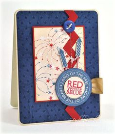 Red, White, & Blue Card by Debbie Olson for Papertrey Ink (May 2013)