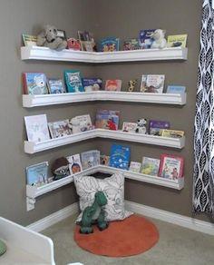 DIY Rain Gutter Kid's Bookshelves