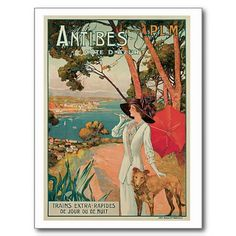 Vintage Antibes France travel advertising Postcards