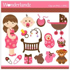 ZA29 Cute Pink Baby Shower - digital clip art - baby, shower, girls,boys, mom to be, pregnancy, teddy bear, nursery, stroller, cribs $5