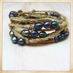 Peacock pearls on natural cord, wrap bracelet or necklace