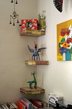 Cool cigar box shelves