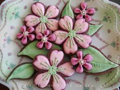 Bridal Blossoms ~ Chocolate Cut-out Cookies with Royal Icing for Wedding Shower by Robin Traversy {The Cookie Faerie}