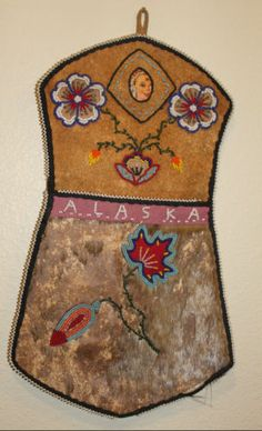 Alaskan Indian Beaded Wall Pocket Hide ATHABASCAN RARE Victorian Native American | eBay