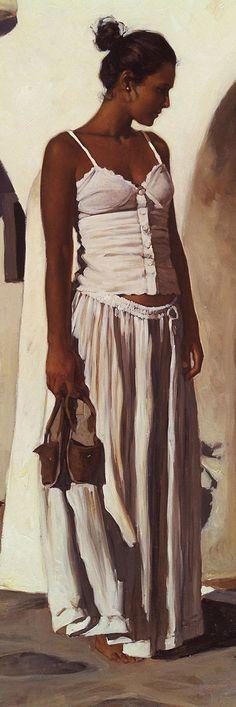 Artist: Gabriel Picart {contemporary figurative beautiful female décolletage standing woman profile portrait cropped oil painting detail #loveart}