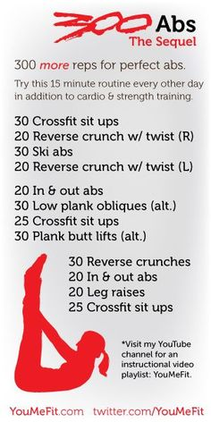 The second workout in the 300 Abs Series. Incorporate this 15-20 minute routine into your cardio and strength training to help target your midsection.