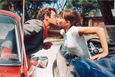 Photos of French actor Jean-Paul Belmondo and Danish actress and singer Anna Karina on the set of Pierrot le Fou written and directed by Jean-Luc Godard in 1965, via DINCA and Espectador Emancipado.