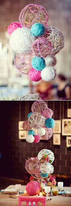 Yarn ball decoration #wedding #decoration #yarn #balls #DIY