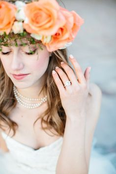 Love that engagement ring!   photo by Lora Grady Photography   Bridal Musings