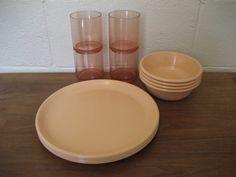 Vintage Peach Melamine Rubbermaid Dish Set by ShesARainbowVintage, $25.00
