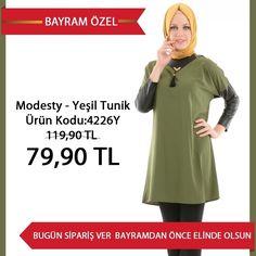 """Modesty - Yeşil Tunik 119,90 TL yerine sadece 79,90 TL! Ürün Kodu:4226Y Beden seçenekleri : 38-40-42-44-46  BAYRAM FIRSATLARINDAN YARARLANMAK HEMEN İÇİN TIKLAYIN: www.tesetturisland.com """"WHATSAPP SIPARIS HATTI : +905076513656 """""""