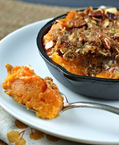 brandied yams with pecan crumble topping