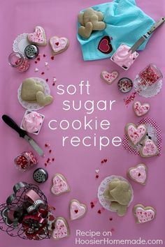 The BEST Soft Sugar Cookie Recipe ever! Great for cut out cookies! Recipe on HoosierHomemade.com