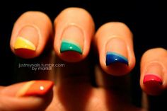 ombre colorful diagonal french tips