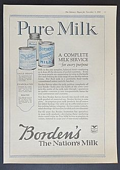 Borden's Eagle Brand, Evaporated and Malted Milk Ad