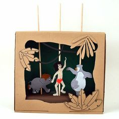 How To Make a Jungle Book Shoebox Puppet Theater | MollyMooCrafts.com for @Spoonful
