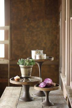 set of three wooden pedestals  $169.00