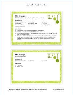 4x6 Recipe Card Template