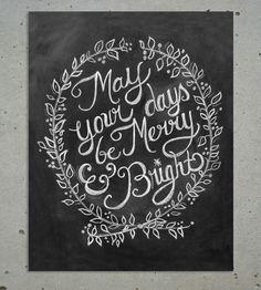 Merry & Bright Christmas Chalkboard Art
