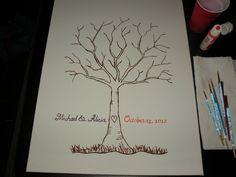 Homemade thumbprint tree guestbook