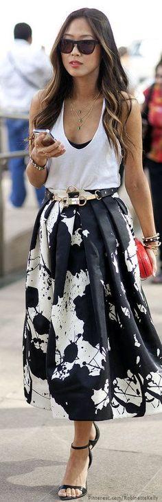 Skirt midi skirts, midi dress outfit, fashion street summer, midi skirt style, aime song, street styles, black white, street style summer dress, midi skirt outfits