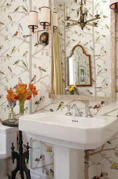 Sarah's House Season 4 bird wallpaper in powder room
