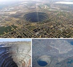 This abandoned diamond mine is the largest man-made hole in the world and is located in Mirny, Eastern Siberia. The mine is 1,722 feet deep and has a diameter of 3,937 feet.  20-foot tall rock-hauling trucks service Mirny Mine along steep roads that snake back and forth.